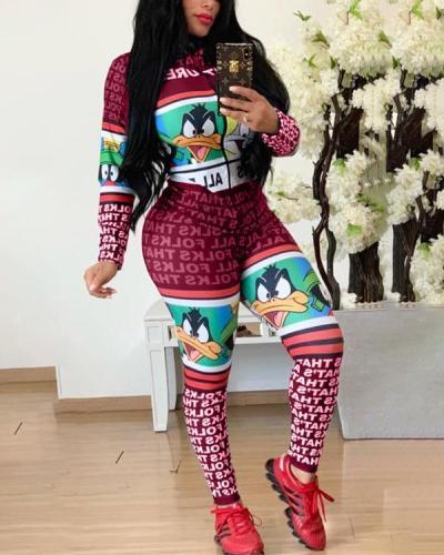 Long Zip Print Slim Jumpsuit