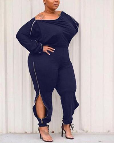 Plus Size Plain Zipper Full Length Plus Size Slim Women's Jumpsuit
