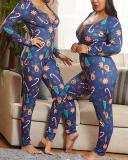 Christmas Casual Print Plus Size Jumpsuit