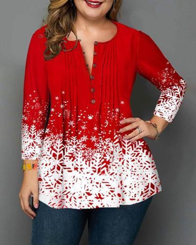 Plus Size Christmas Snowflake Print Crinkle Chest Blouse