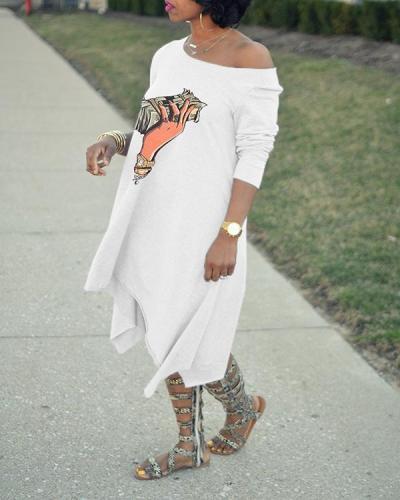 Fashion Sexy Sloping Shoulder Personality Printing Irregular Dress