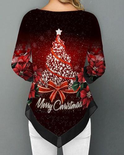 Christmas Tree Printing Asymmetrical Hem Chiffon Stitching T-shirt