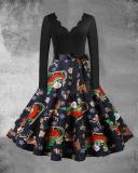 Christmas Print V-Neck Long Sleeved Midi Dress with Waistband(8 Patterns)