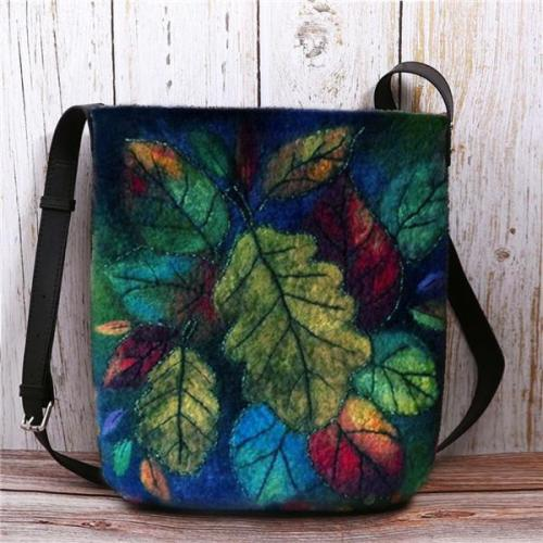 Women Colorful Leaf DIY Bag Crossbody Bag