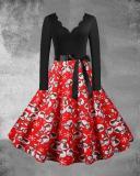Christmas Print V-Neck Long Sleeved Midi Dress with Waistband(8 Patterns)