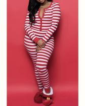 Christmas Print Striped Long Sleeve Jumpsuit