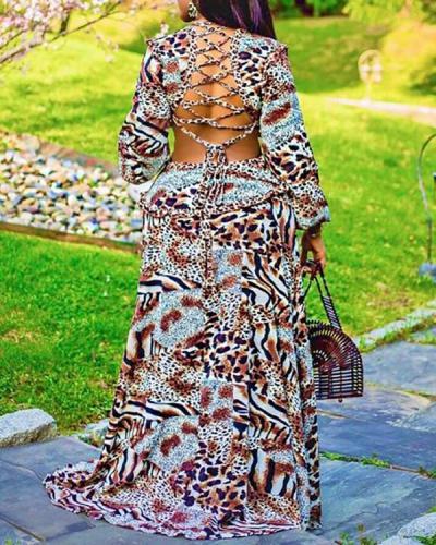 Casual Leopard Print V-neck Dress