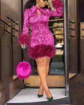 Spliced Lapel Plus Size Women's Sexy Dress