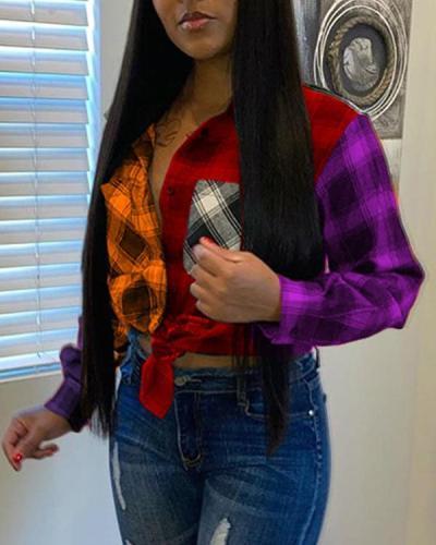 Fashion Plaid Stitching Long-sleeved Plus Size Shirt