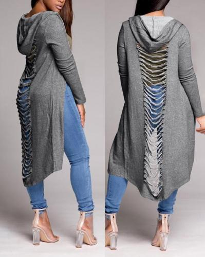 Sexy Ripped Hollow Cloak Coat