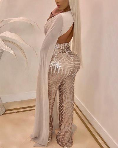 Plus Size Sequins Splicing Party Jumpsuit