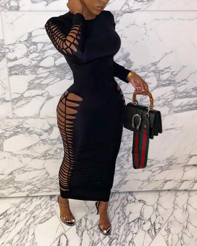Solid Color Distressed Maxi Dress