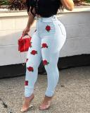 Rose Print High Waist Plus Size Pants