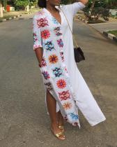 Flower Printed Maxi Split Shirt Dress
