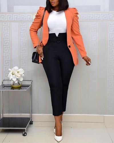 Fashion Stretch Long Sleeve Lapel Suit Jacket & Pants Two Piece Set
