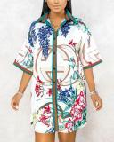 Casual Flower Printed Shirt Dress