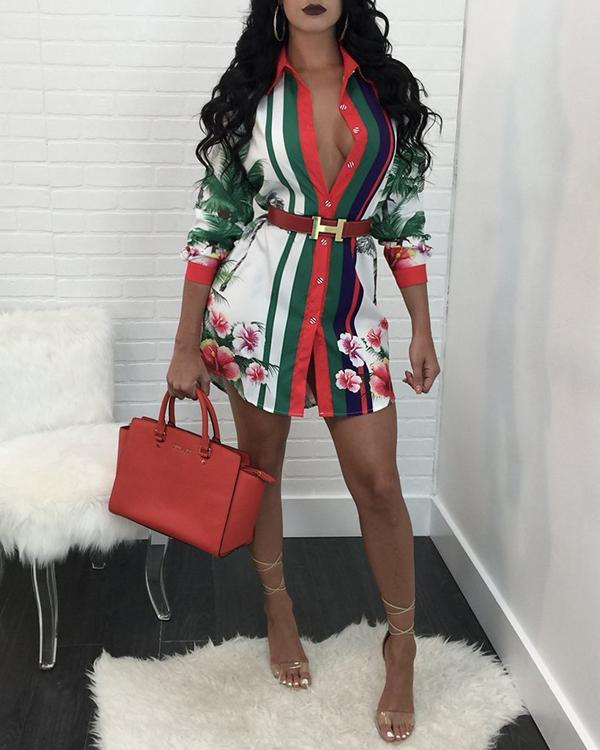Print Sleeve Asymmetrical Women's Dress