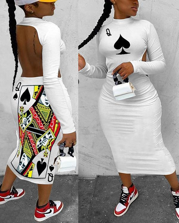 Q Poker Spades Elements Long Sleeve Halter Long Dress