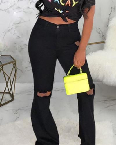 Sexy Fashion Ripped Elastic Skinny Denim Flared Pants