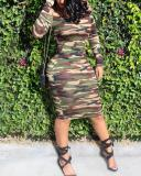 Casual Long Sleeve Off Shoulder Camo Plus Size Dress