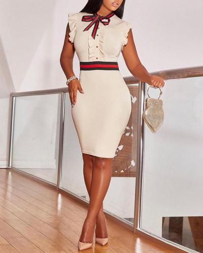 Ruffle Design Sheath Knee Length Dress
