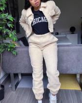 Irregular Stitching Jacket High Waist Straight Casual Pants Cashmere Suit