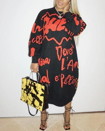 Letter Print Black Mid Calf Plus Size Dress