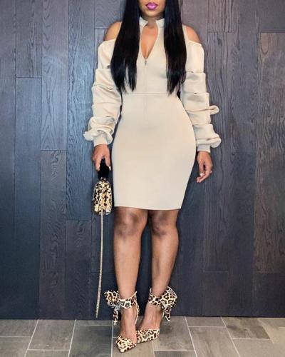 Solid Color Zipper Mid Calf Plus Size Dress