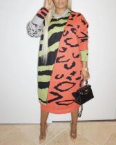 Print Patchwork Croci Mid Calf Plus Size Dress