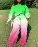 Gradient Color Trendy Long-sleeved Knotted Wide-leg Pants Suit
