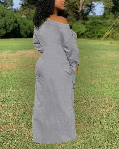 Pure Color Knotted Long-sleeved Dress With Both Side Pockets
