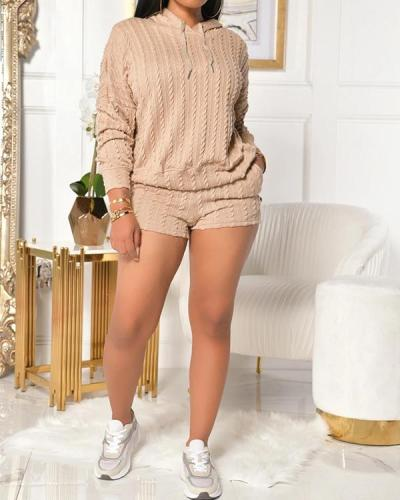 Plus Size Knitted Hooded Collar Top & Shorts