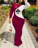 Fashion Spades Q Print Maxi Dress