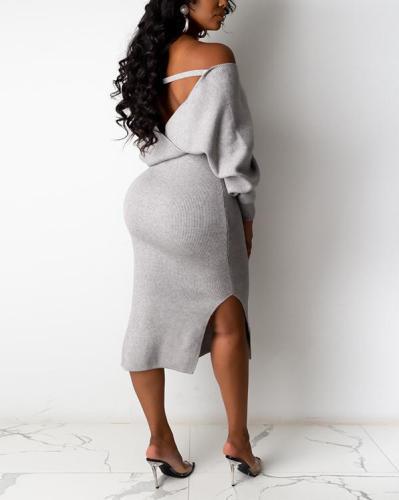 Backless Strappy Pit Stripe Dress