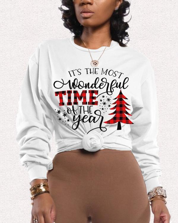 Casual Christmas Tree Letter Print Tops Sweater