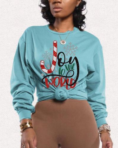 Casual Christmas Letter Print Tops Sweater