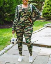 Casual Camouflage Print Hoodies Vest Pants Three-piece Suit