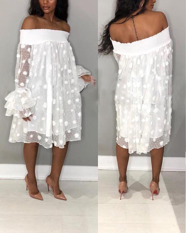 Casual Polka Dot Jacquard Flat Shoulder Pineapple Sleeve Loose Dress