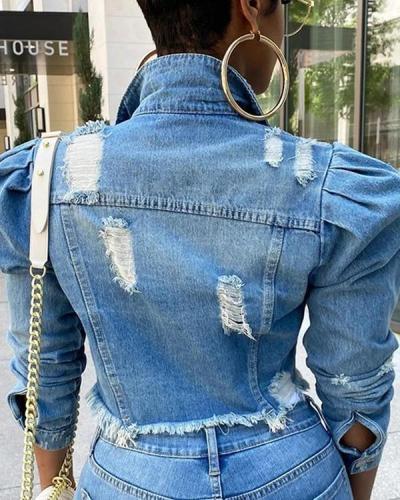 Splicing Short Jacket Women's Trend Plus Size Denim Jacket