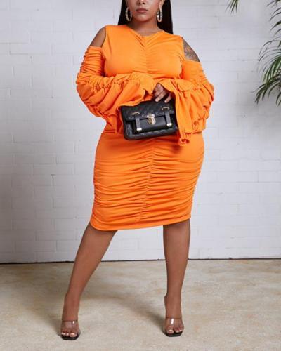 Trendy Hollow-out Fold Design Croci Mini Plus Size Dress