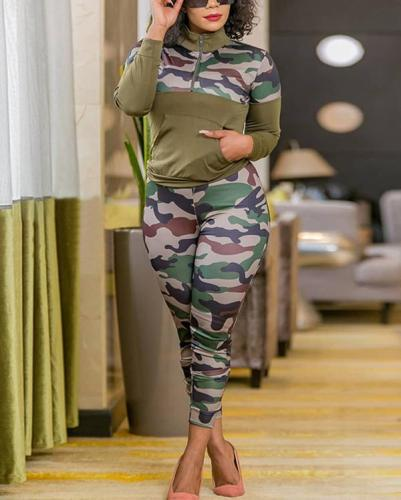 Plus Size Camouflage Printed Knitted Casual Two-piece Suit