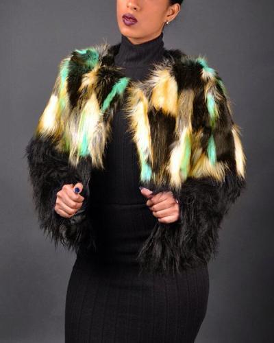 Faux fur Stitching Jacket Coat