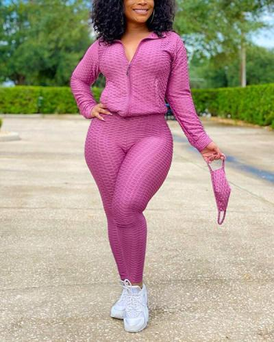 Stand-up Collar Zipper Sweater Sports Two-piece Suit + Mask