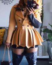 Short Skirt Long Sleeve Slim Waist Suit Collar Dress
