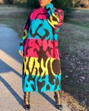 Printed Loose Long Sleeve Dress