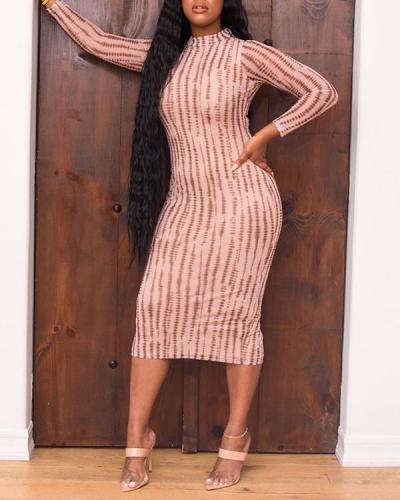 Printed Long Sleeve Split Midi Dress