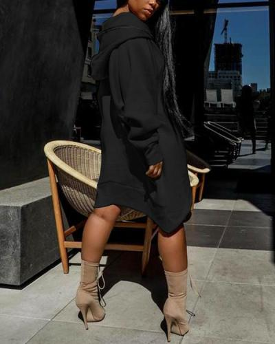 Solid Irregular Hem Zipper Hooded Dress
