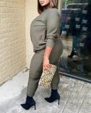Plus Size Solid Color Knitted Casual Suit