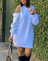 Zipper Cold Shoulder Solid Mini Dress