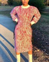 Round Neck Striped Long Sleeve Plus Size Dress
